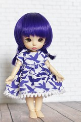 Tuesday's Turn (AluminumDryad) Tags: fairyland pukifee pkf bonnie tinybjd bjd balljointeddoll doll resin purple sewing handmade dolldress dollloutfit birds