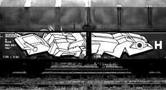 graffiti on freighttrains (wojofoto) Tags: amsterdam nederland netherland holland graffiti streetart cargotrain vrachttrein freighttraingraffiti freighttrain fr8 wojofoto wolfgangjosten delta monochrome zwartwit blackandwhite