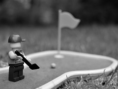 Get in the hole! (133/365) (robjvale) Tags: nikon d3200 adventurerjoe lego project365 golf ball hole green roll