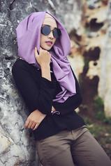 Relax (Dudy GR's) Tags: model mode mood people potrait portrait face fashion asian asia ni nikkor nikon d300 50mm cute hijab eyeglass black