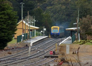 Sydney to Canberra passenger service #SP31 departs the station at Wingello, NSW.