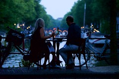 Love birds 1. (Michael Degenhart) Tags: amsterdam romance lovebirds canals city urban street dusk