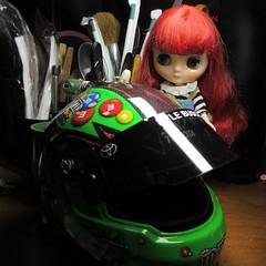 Wow. I like the green one! (jefalump) Tags: takara blythe middie furrybellabo nascar kylebusch helmet modelcar
