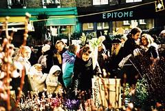 Columbia Road (cranjam) Tags: lomography lomo lca film slide xpro kodak elitechrome100 expired london londra uk columbiaroad flowermarket crowd flowers fiori stalls bancarelle hackney