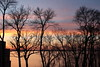 Sun-streaked clouds through the trees (danielhast) Tags: madison lake mendota sunset sky clouds water trees