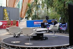 The empty Winter Gardens Studio (zawtowers) Tags: world snooker championship 2018 betfred crucible theatre sheffield thehomeofsnooker second round monday 30th april afsnikkor50mmf18g 50mm fifty winter gardens studio bbc2 crowd behind view chairs seats