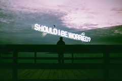 should i? (Louis Dazy) Tags: 35mm analog film double exposure scenery landscape waterfront pier neon sign sunset sunrise clouds