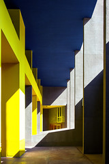 Gallaratese II Housing (LG_92) Tags: gallaratese housing milano milan aymonino rossi italy architecture modern modernism colorful arcade structure concrete yellow blue perspective building nikon dslr d3100 2018 april column ceiling geometric wall