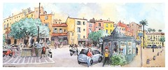 Saint Tropez - Provence - France (guymoll) Tags: sainttropez provence france sketch croquis aquarelle watercolour watercolor kiosque village