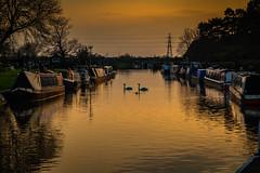 Sunset, Trent Lock, Derbyshire (Geraldine Curtis) Tags: sunset trent lock derbyshire river derwent canal reflection