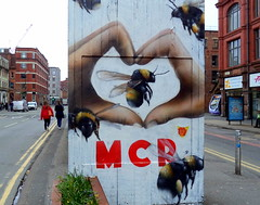 Manchester - We Stand Together (Tony Worrall) Tags: city england regional region area northern uk update place location north visit county attraction open stream tour country welovethenorth nw northwest britain english british gb capture buy stock sell sale outside outdoors caught photo shoot shot picture captured street urban streetart paint painted wall show urbanart daub made graffiti manchesterstreetart event summer manchester gmr westandtogether bomb mcr bee symbol manchesterbee