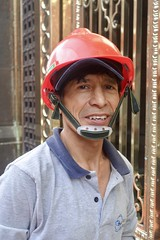 Member of the cleaning crew, Centro Historico, Lima (Yekkes) Tags: portrait man handsome smile helmet hat headgear protectiveclothing lima peru latinamerica centrohistorico happy cheerful friendly face