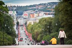 Over byen (morten f) Tags: oslo city by norge norway europe people summer karl johan gate street photography slottet utsikt over freia klokke