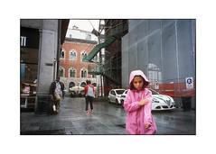 *** (Gediminas Bernotas) Tags: milan milano fujivelvia100 slidefilm slide voigtlander bessar kid pink leica summaron3535 streetphotography street police corner rain girl