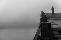 the illusion of privacy / fog everywhere (Özgür Gürgey) Tags: 2018 70300mm bw büyükçekmece d750 nikon architecture bridge fog grainy negativespace people silhouettes street istanbul