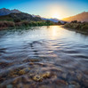 Sunny Sunday (robjdickinson) Tags: landscape mountain river nature water outdoors sunset lake grass evening sun bodyofwater ripple wilderness waterresources