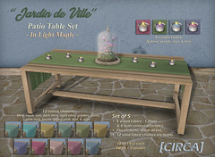 "@ ILLUMINATE - [CIRCA] - ""Jardin de Ville"" - Patio Table Set - Light Maple (Cherelle Capra - [CIRCA] Living) Tags: circaliving circa cherellecapra secondlife frenchgardens outdoorpatios gardenpatios gardenfurniture patiofurniture planterboxes trellisplanters woodbenches patiobenches gardenbenches woodchairs patiochairs gardenchairs patiotables gardentables outdoorottomans clayovens wallfountains outdoorfountains birdfeeders floralcloches flowergardens springfurniture springpatiosets summerpatiosets slilluminateevent homeandgarden"