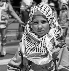 The young Leila Khaled? (ybiberman) Tags: israel jerusalem oldcity alquds muslimquarter damascusgate girl keffiyeh people portrait candid streetphotography bw