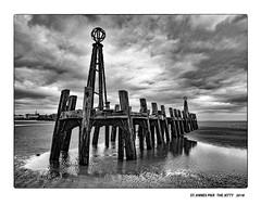 Landing Jetty (mtwhitelock) Tags: aftersunset jetty blackpool ruinedlandingjetty lancashire fylde lythamstannes stannespier victorian monochrome sky pier sea water