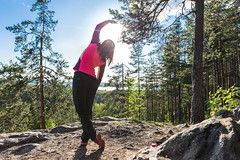 exercise on the top of Neulamäki hill (VisitLakeland) Tags: exercise training wellness stretch finland nature view hill forest kuopio luonto venyttely treeni jumppa metsä
