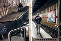 Paired (Melissa Maples) Tags: münchen munich deutschland germany europe apple iphone iphone6 cameraphone winter staircase steps stairs escalator station metro railway tracks platform reflection photographer mirror me melissa maples selfportrait woman shorthair blonde