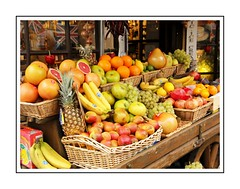 Fruit shop (Audrey A Jackson) Tags: canon60d shop fruit apples oranges bananas pineapple pomegranite grapes window lemons