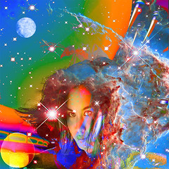 Cosmic Dream (ICARUSISMARTDESIGNS) Tags: portrait trendy vintage fantasy contemporary retro cool pattern modern sciencefiction mythology inspirational space universe stars sun nature imagination dream color art painting digital other red blue cosmic dreaming alien geek mashup psychedelic travel mind metamorphosis meditation journey exploration time atomic moon planet orbit beauty love