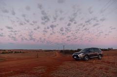 Prairie explorations (Nilsfried) Tags: roadtrip car moon australia redsand sunset clouds mitsubishi outlander prairie western road trip