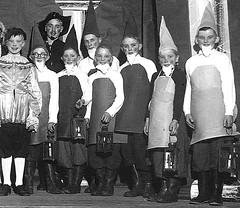 Snow person and the Seven helpers (theirhistory) Tags: children kids boys girls group stage costume apron hat cap trousers rubberboots wellies lantern