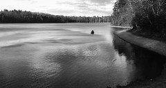 Gone fishing (ashokboghani) Tags: waldenpond pond water concord massachusetts thoreau blackandwhite monochrome serene fishermen