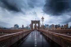Brooklyn Bridge New-York (Cédric Mayence Photography) Tags: nyc newyork newyorkcity brooklyn brooklynbridge bridge pontdebrooklyn pont unitedstates unitedstatesofamerica architecture strom cloudy manualblending hdr highdynamicrange rain pluie morning