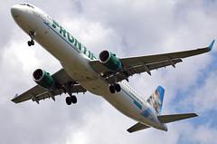N717FR FRONTIER A321-211 at KCLE (GeorgeM757) Tags: n717fr a321211 aircraft alltypesoftransport aviation airbus landing kcle georgem757