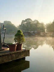 Early Morning (simoncoram) Tags: reflection reflecting pontoon sunrise crt gloucester gloucesterandsharpnesscanal frampton saul narrowboats ripples morning sky mist boats docks marina water