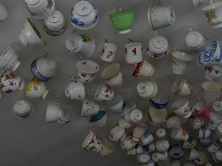 Cups hanging from the ceiling