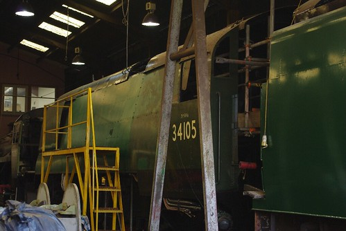 18-242   Bulleid Light Pacific No. 34105 'Swanage' in the shadows of Ropley Shed