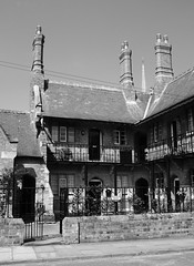 almshouses (bejem) Tags: almshouse 1869 victorian windows doors landing railings louth lincs arches gate chimneys
