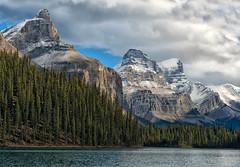 Peaks of Spirit Island (Philip Kuntz) Tags: mtpaul monkheadmountain mtwarren queenelizabethrange legrandbrazeau peaks mountains spiritisland malignelake jasper alberta canada
