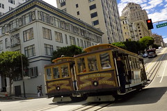 Stockton and California (Aneonrib) Tags: california san francisco street cable car muni stockton st hill buildings up down steep passing 50 54 van ness market streets intersection uphill downhill corner red light