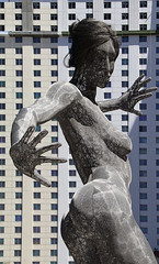Bliss Dance (studioferullo) Tags: architecture art beauty bright colorful colourful colors colours contrast dark design detail downtown edge light metal outdoor outside perspective pattern pretty scene study sunlight sunshine street texture tone world lasvegas nevada woman sculpture building statue dance marcocochrane strip
