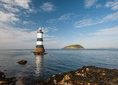 Penmon Point Lighthouse (Jez B) Tags: wales landscape north water reflection penmon point lighthouse sea straight light house