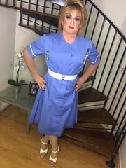 Nurse K again! (Sissy kaylah) Tags: trans transvestite tranny crossdresser crossdressing crossdress uniform nurse nudetights stockings highheels blonde heavymakeup