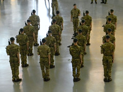 The Queen's Color Squadron drill practice (Photo Squirrel) Tags: royalairforce100thanniversary stevenfudvarhazycenter nationalairandspacemuseum dullesairport chantillyva virginia drill raf royalairforce virgina thequeenscolorsquadron