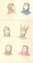 Hovedbeklædninger (Rigsarkivet - Danish National Archives) Tags: costumes drawing theatre aquarel teater kostumer kostumetegninger