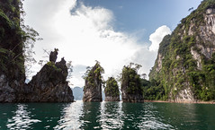 Natural attractions in Khao Sok National Park. (donnchans) Tags: asia cheow chiew forest khao lan larn ratchaprapha sok southeast thai thailand beautiful boat cliff dam green hill jungle lake landscape limestone mountain national nature outdoor park river rock sky southern summer tourism travel tropical water