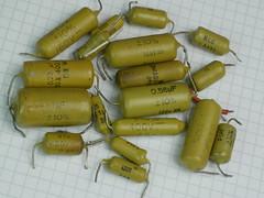 Mullard Mustard Capacitors (anachrocomputer) Tags: c296 mustard mullard capacitor dmcg7 45mm elmarit f28