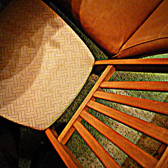 happy landings (milomingo) Tags: chair texture grain perspective slats fabric textile square furniture wood abstract pattern linear geometry angle diagonal