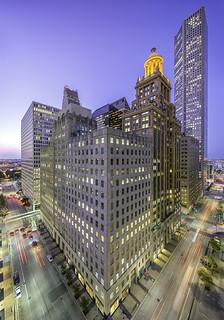 Travis At Walker Vertical Panorama ~ Northwest Downtown Houston Skyline