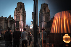 Wills Memorial Building, Bristol, UK (KSAG Photography) Tags: reflection building tower street streetphotography night people bristol uk england unitedkingdom britain europe nikon may 2018 city urban architecture university nightphotography window lights