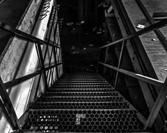Abandoned Jaguar Dealership: Metal Stairs (that_damn_duck) Tags: nikon blackwhite abandoned urbex urbanexplorer stairs jaguardealership cardealership metal pointofview bw blackandwhite