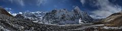 Panorama Kangchenjunga (Carsten Nebel www.MyHimalayas.com) Tags: gimmigelachuli kangchenjungatrekking northbasecamp tapleshikar 7902m 8505m 8586m kangbachen kangchenjunga mountain panorama twins wedgepeak yalung